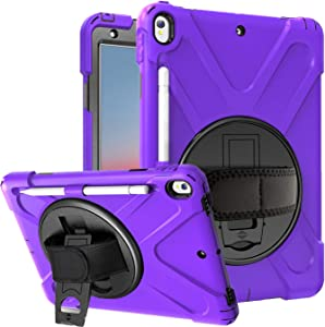 """Azzsy iPad Air 3 Case 10.5"""" 2019/iPad Pro 10.5 Case 2017,[360 Degree Swivel Stand/Hand Strap] Heavy Duty Shockproof Rugged Full Body Protective Case for iPad Air (3rd Generation) 10.5"""" 2019 (Purple)"""