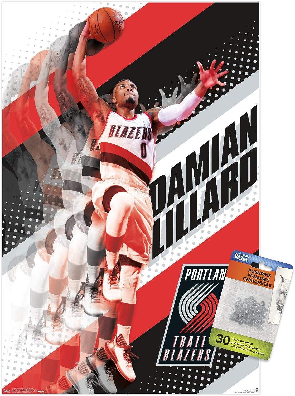 NBA Portland Trail Blazers - Damian Lillard 17 Wall Poster with Push Pins