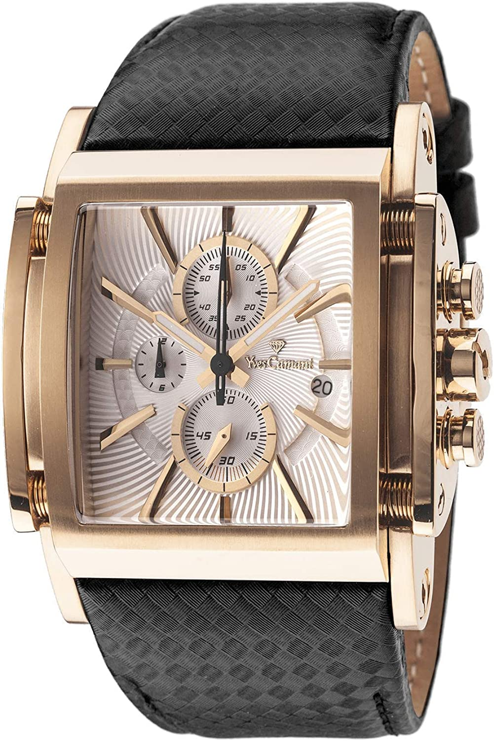 Yves Camani Men s Stainless Steel Chronograph Watch with Date Display Leather – Gold Silver
