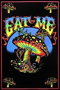 Pyramid America Eat Me Magic Mushroom Retro Art UV Black Light Blacklight Poster 23x35 inch