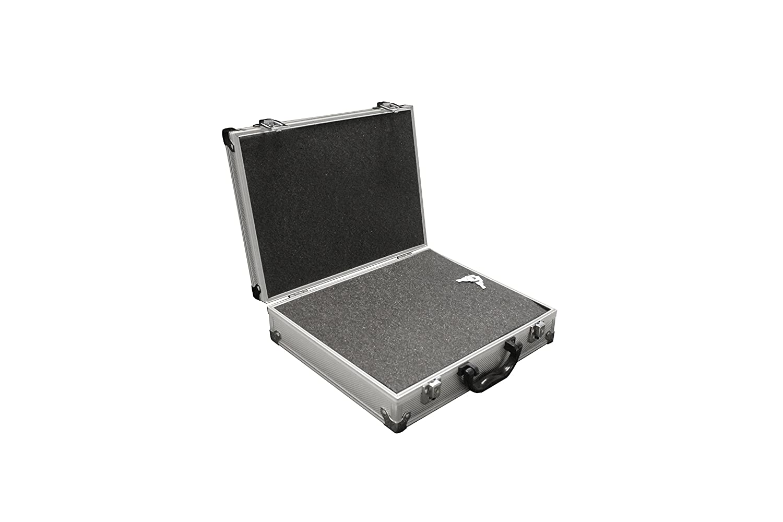 PeakTech 7255 – Estuche universal para dispositivos de medición, robusto, de aluminio, almacenamiento de herramientas, relleno de espuma, con cerradura, a prueba de polvo, M - 295 x 195 x 70 mm