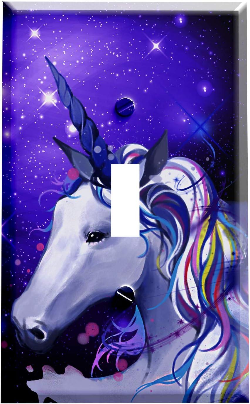 Gotham Decor Switch Plate Single Toggle Unicorn Galaxy Light Switch Cover