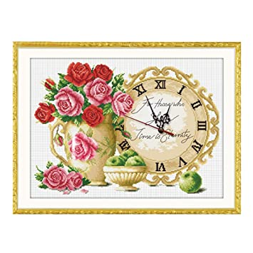 CCJIN Reloj de Punto de Cruz,Lienzo Pared decoración,Punto de Cruz de Bordado