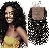 Sent Hair 4x4 Silk Base Lace Closure with Baby Hair Free Part Curly Wave Human Hair Closure Bleached Knots Brazilian Virgin H
