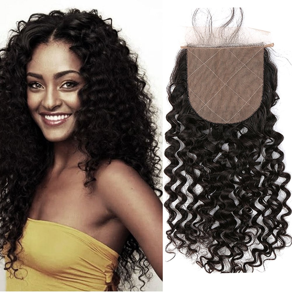 Sent Hair 4x4 Silk Base Lace Closure with Baby Hair Free Part Curly Wave Human Hair Closure Bleached Knots Brazilian Virgin Hair Natural Color 20 inch
