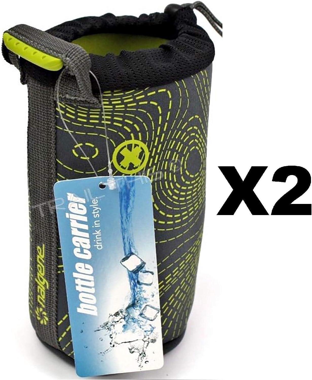 Nalgeneウォーターボトルスリーブ32ozグレー&グリーンネオプレン断熱W / M ( 2 - Pack )