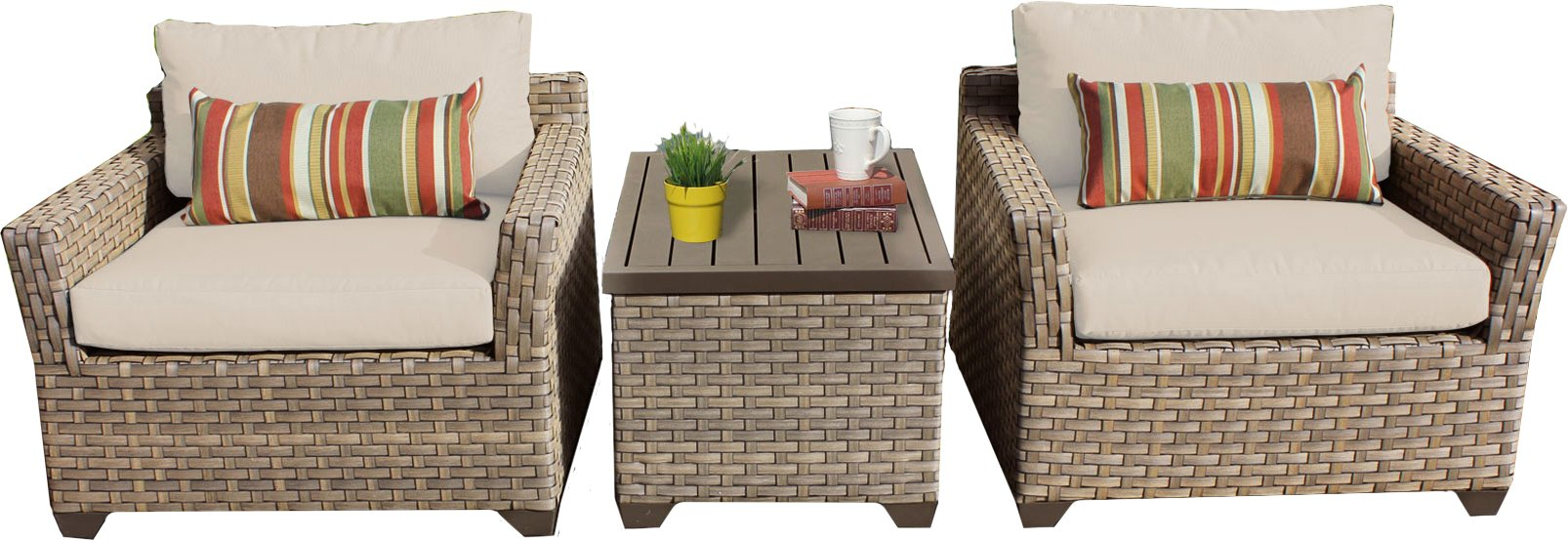 TK Classics Monterey 3 Piece Outdoor Wicker Patio Furniture Set 03a, Beige - FULLY ASSEMBLED - Seating area is ready to use and enjoy with family and friends Cushions - Easy Care plush cushions for a luxurious look and feel Cushion Covers - Washable and zippered for easy cleaning (air dry only) - patio-furniture, patio, conversation-sets - 71eEVRpT2pL -
