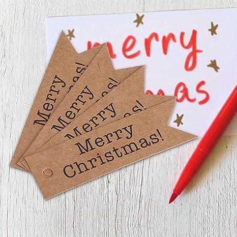 100 Pezzi//Confezione Carta Kraft Hang Tag Etichetta Regalo Buon Natale Etichetta Tag Message Card per Decorazioni per Feste Natalizie