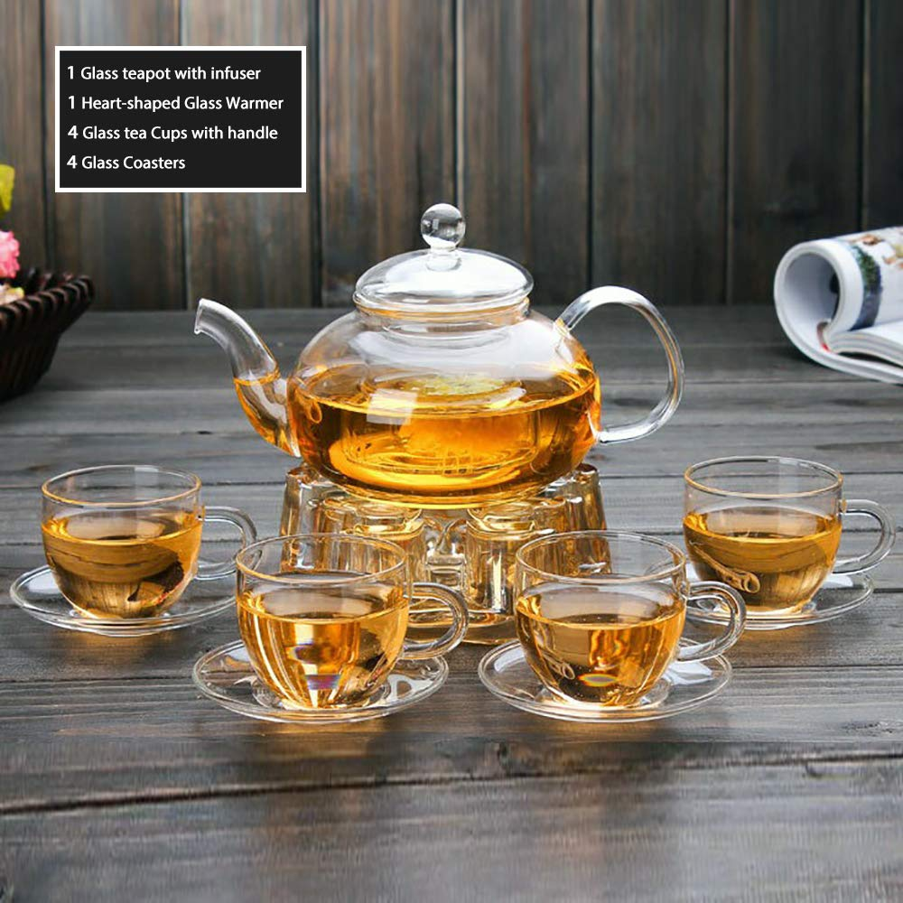 Clear Glass Teapot Set with Infuser 4 glass Tea Cups 4 Glass Saucers 1 Heart Shape Crystal Glass Warmer Base,Glass Tea Maker Teapot with Filtering, Blooming Loose Leaf tea pot