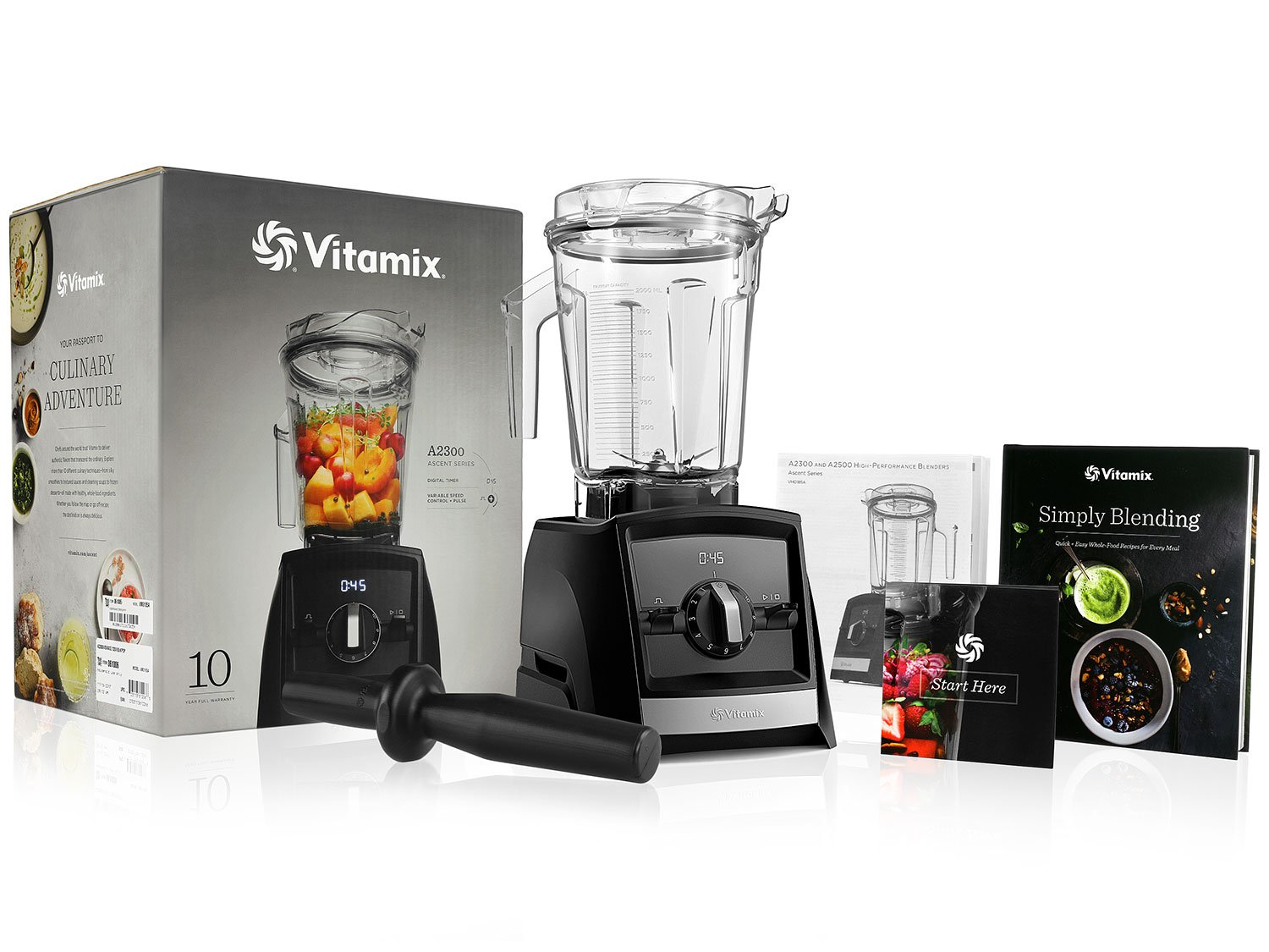Vitamix A2300 Ascent Series Blender with 64-Ounce Container Vitamix Simply Blending Blending Recipe Cookbook Low-Profile Tamper 10-Year Full Warranty – Black