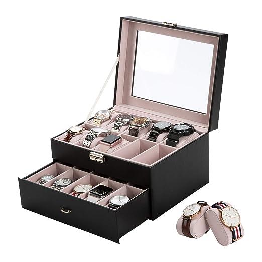 Gemeinsa Caja para Relojes Estuche de Cuero para Reloj, 20 Compartimentos, con Cerradura: Amazon.es: Relojes