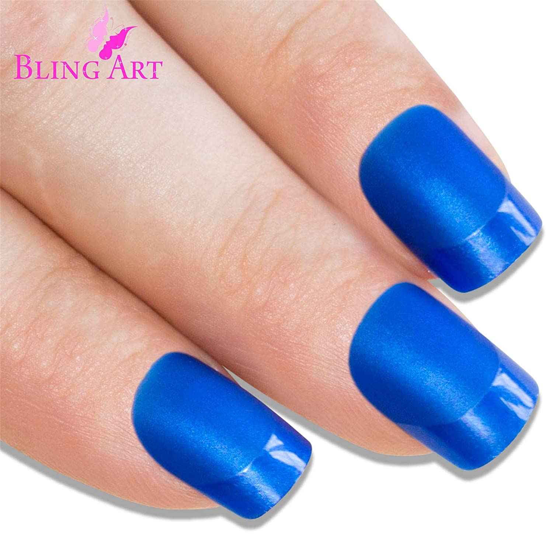 Uñas Postizas Bling Art Azul Matte 24 Squoval Medio Falsas puntas acrílicas con pegamento: Amazon.es: Belleza