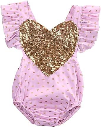 Baby Valentine/'s Day Gold Sequin Heart Romper