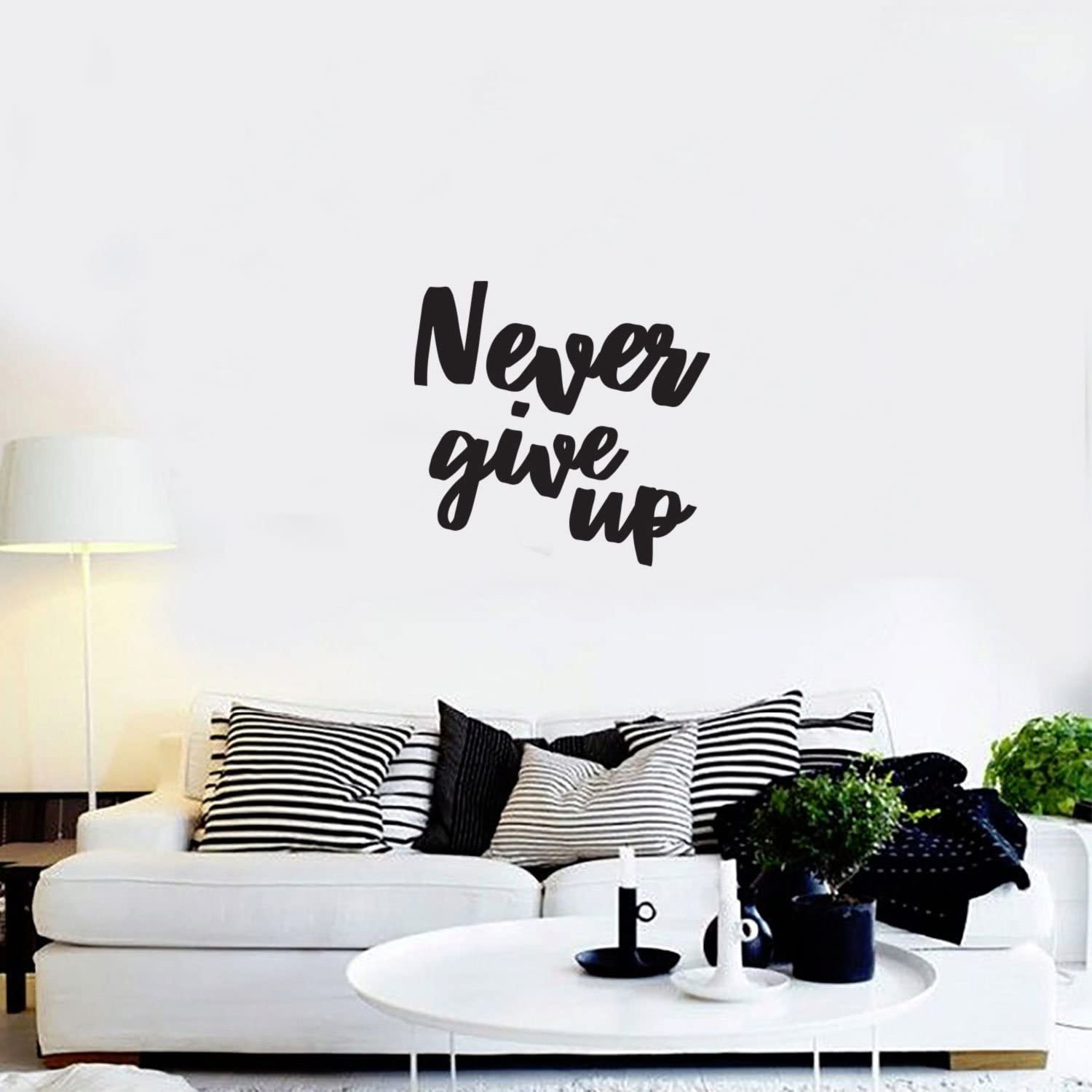 com never give up motivational quote wall art decal