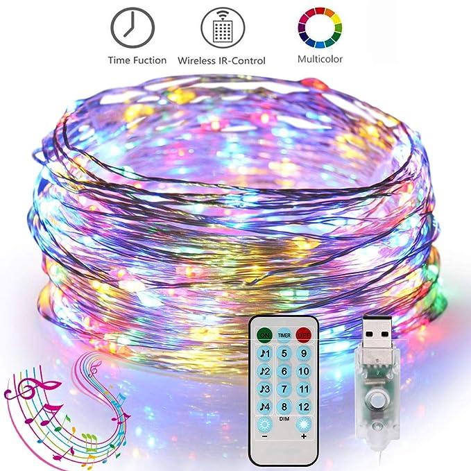 ANNA TOSANI Luces Led Decorativas USB 10M 100LEDs Guirnalda Luces Led Tira Iluminación Sync con Música y Función de Temporizador 12 Mode Navidad De