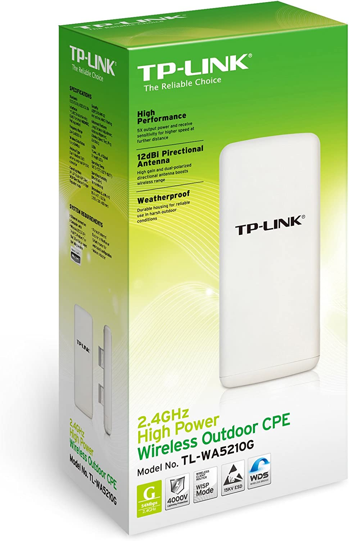TP-LINK TL-WA5210G - Punto de Acceso (54/48/36/24/18/12/11/9/6/5.5/2/1 Mbps, 128-bit WEP, 64-bit WEP, WPA, WPA-AES, WPA-PSK, WPA2, WPA2-PSK, ...