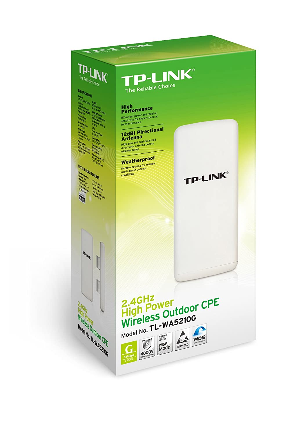 TP-Link TL-WA5210G 2.4GHz High Power Wireless Outdoor CPE (White