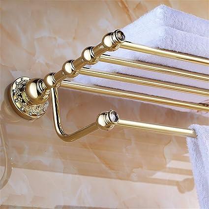 LHbox Tap Cobre Oro taladrar Madera Tallada Base Kit Accesorio baño Colgador de Toallas, Toallas