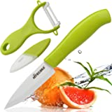 Hitecera Ceramic Veggie Fruit Knife and Peeler Ultra Sharp Lightweight-No Rust and Metal Taste,Great Kitchen Tool Set for Precise Cutting, Peeling,Keeping Original Taste and Color