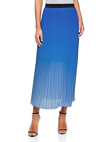 oodji Ultra Mujer Falda Larga Plisada con Elástico: Amazon.es ...