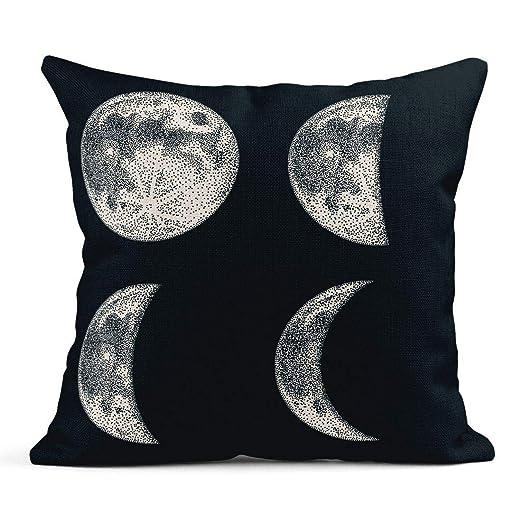 Cojín Eclipse Fases de la Luna Blackwork Dotwork Tatuaje Espacio ...