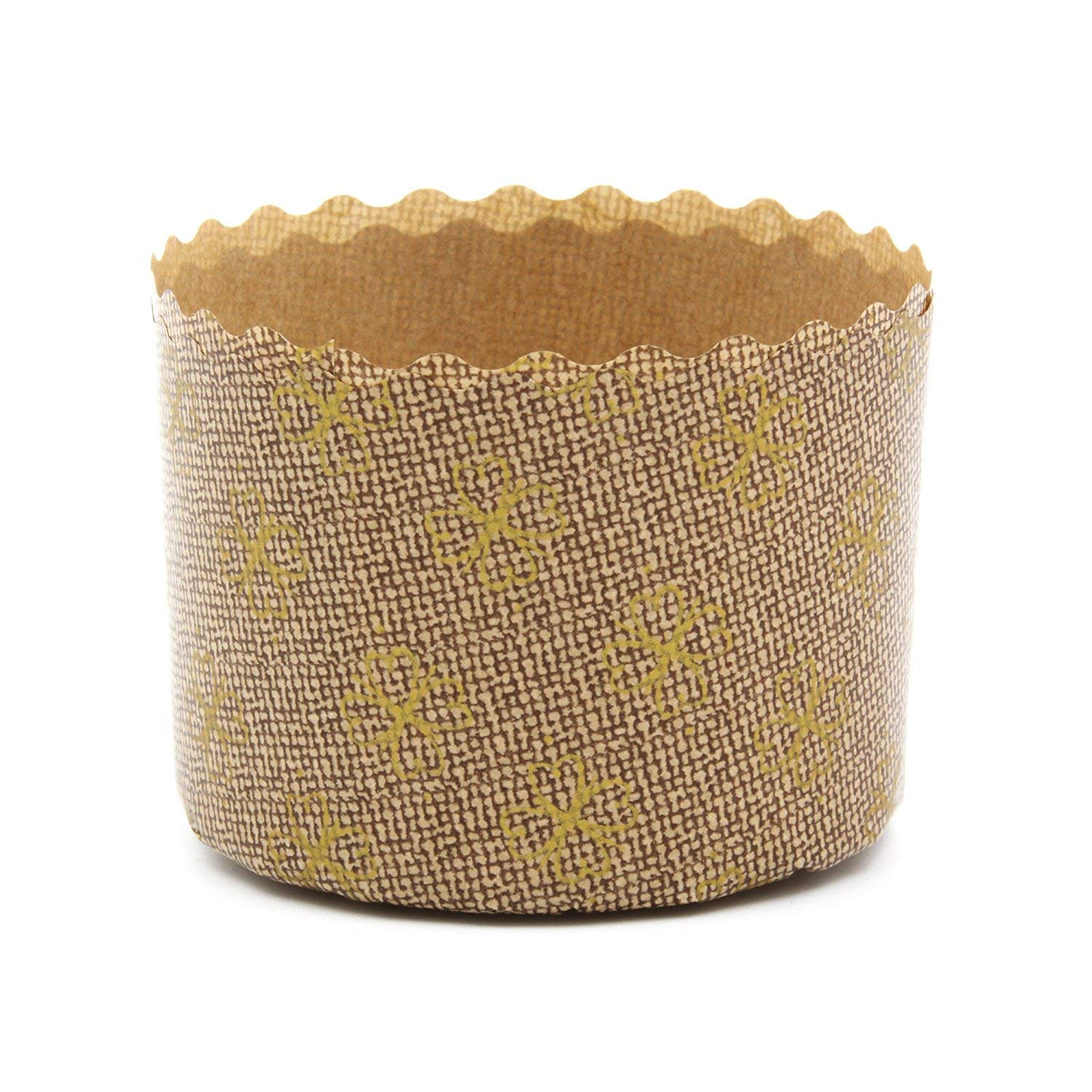Panettone Paper Molds by Ecobake | Paper Souffle Cups and Paper Muffin Cups | Versatile Design | Non Stick, Microwave Safe, Freezer Safe | Size W2.75'' x H1.96'' 100gr | (200 Pieces)