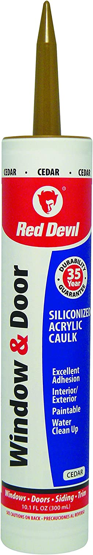 Red Devil 084630 Window & Door Siliconized Acrylic Caulk, 10.1 oz, Cedar