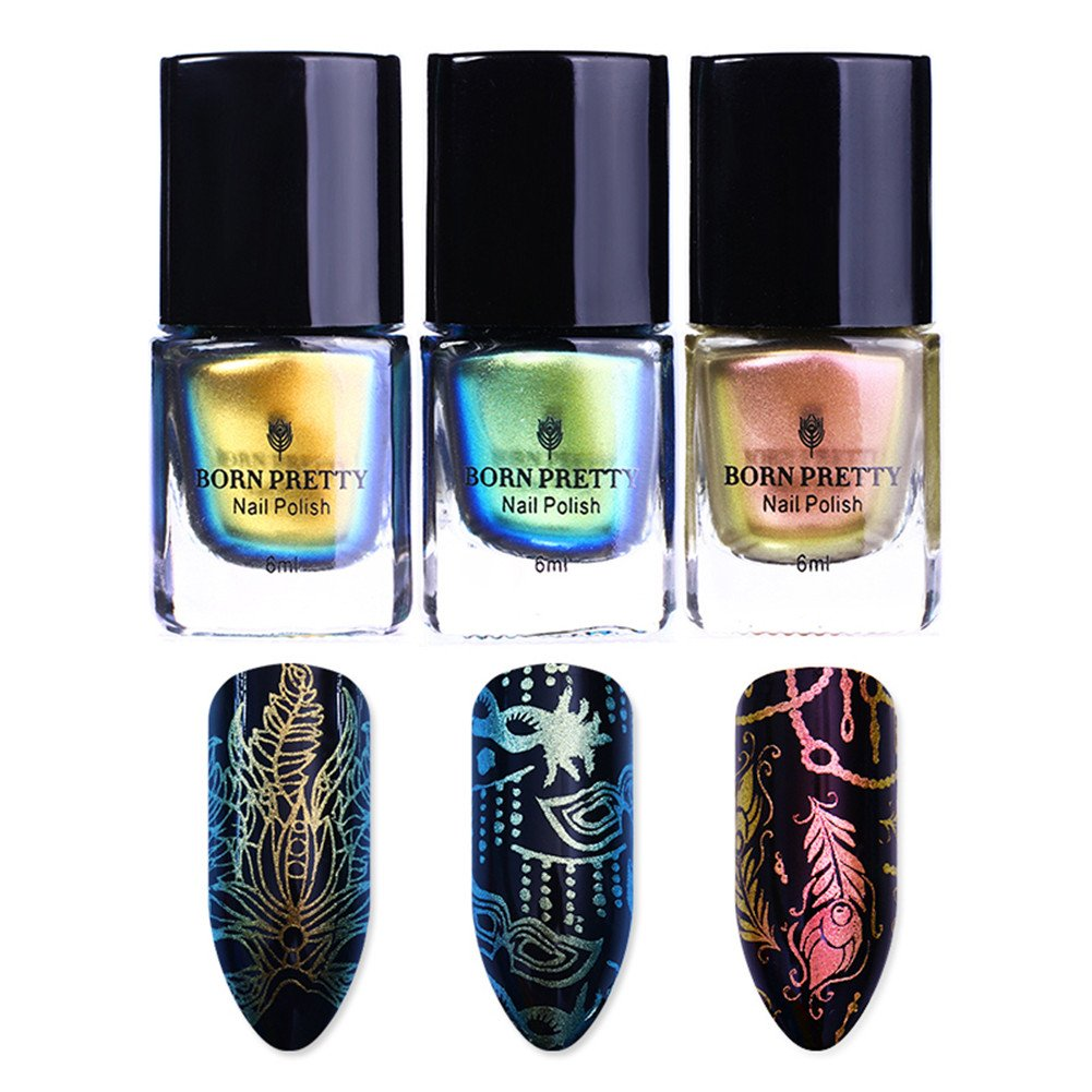 BORN PRETTY 3 Bottles Nail Art Chameleon Stamping Polish New Style Manicure Plate Printing Lacquer Varnish Black Base Needed 41004-4