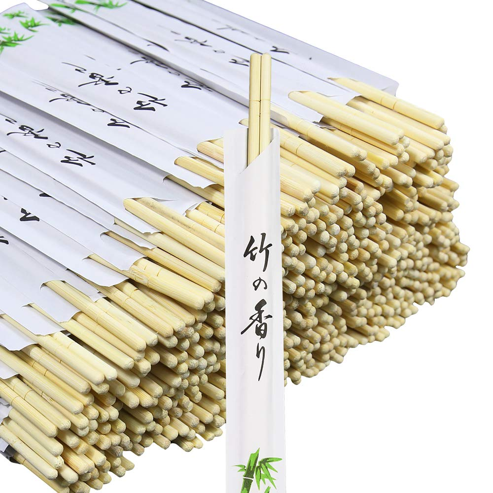 Monpearl Disposable Chopsticks 300 Pairs 8.8'' Natural Bamboo Chopsticks Sleeved and Separated Easy to Hold