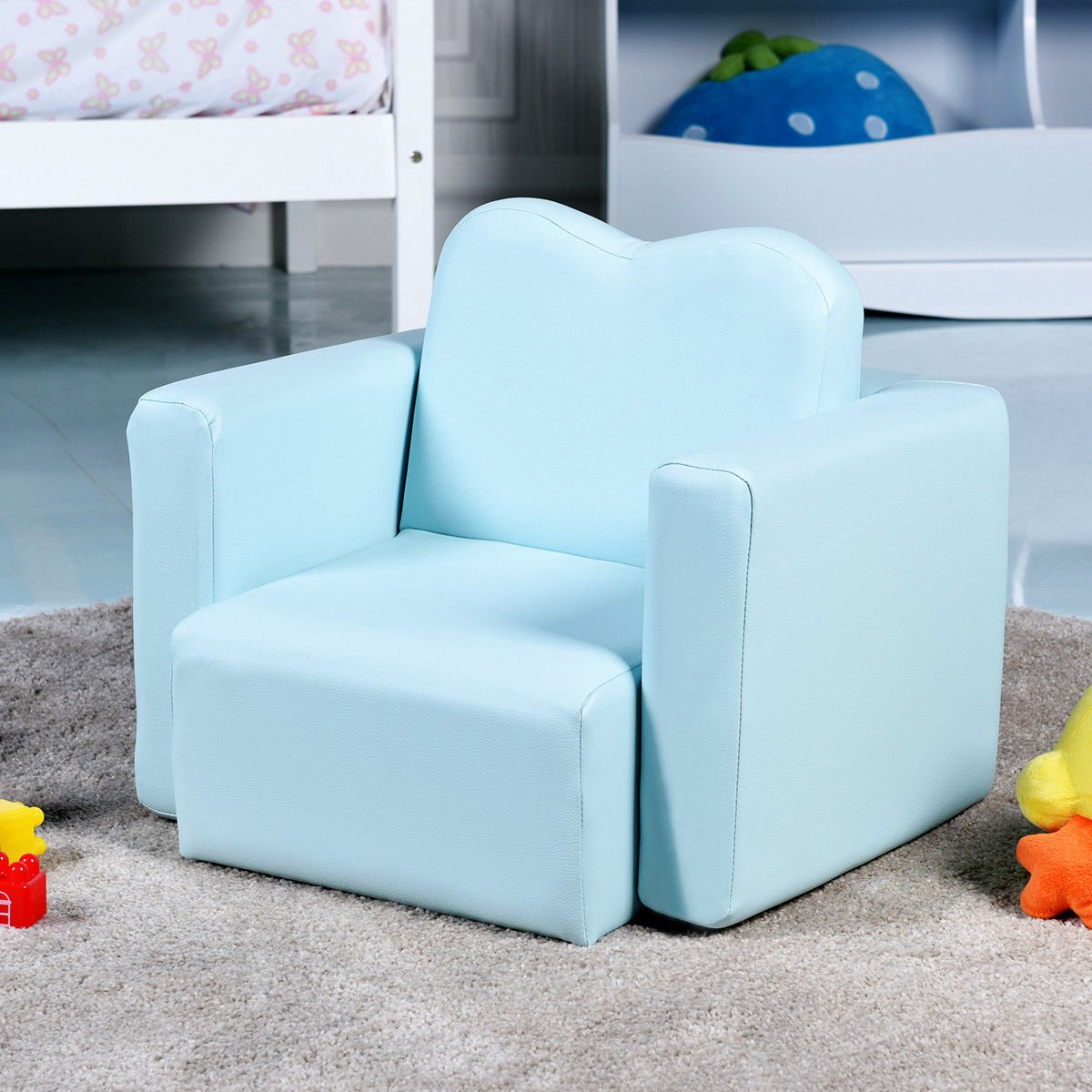 Costzon Kids Sofa, 2-in-1 Multi-Functional Kids Table & Chair Set, Sturdy Wood Construction, Armrest Chair for Boys & Girls (Blue) by Costzon (Image #5)
