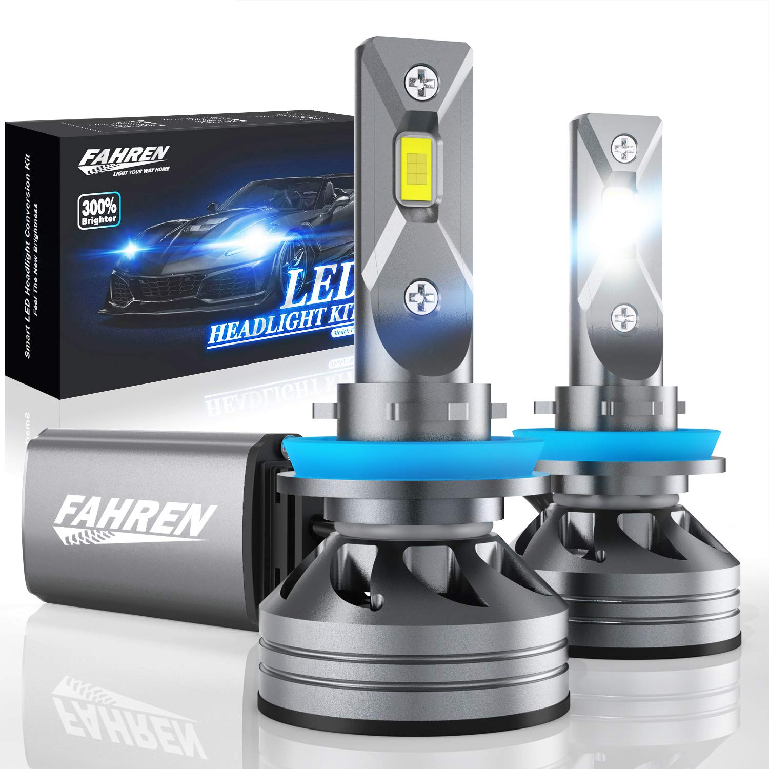 Fahren H11/H9/H8 Bulbs, 60W 10000 Lumens Super Bright LED Waterproof Headlights Conversion Kit 6500K Cool White IP68