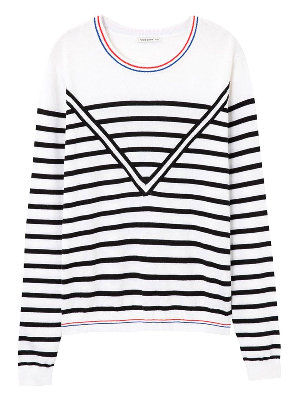 Meters/bonwe Women's Fashion Striped Long Sleeve Pullover Knit Sweater