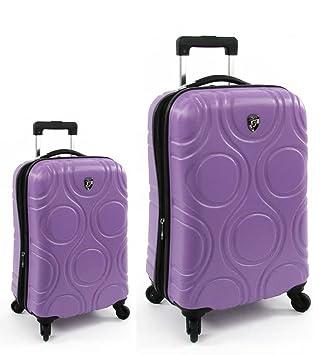 Equipaje, Maletas y Bolsas de Viaje - Premium Designer Maleta Rígida Set 2 Piezas - Heys Core Eco Orbis Viola Equipaje de Mano + Trolley con 4 Ruedas ...