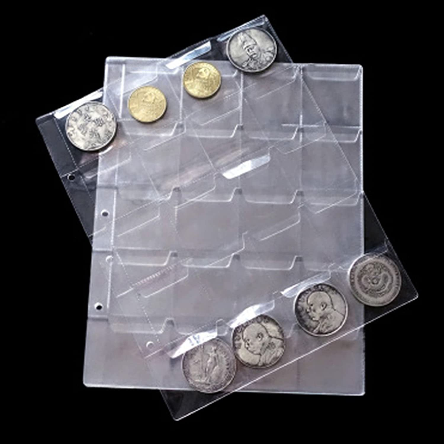 Epaler 5 Sheet 20 Pockets Plastic Coin Holders Storage Collection Money Album Case Stamp Currency Protector Insert Page Sheets Holder eForsky
