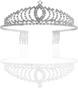 Vinsco Crystal Tiara Crown Headband Headpiece Rhinestone Hair Jewelry Decor for Women Ladies Little Girls Bridal Bride Princess Birthday Wedding Pageant Prom Party with Combs Pin Silver(Style 1)