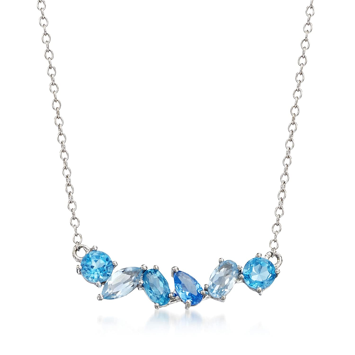 3f30fa33e t.w. Tonal Blue Topaz and .10 Carat Blue Synthetic Spinel Necklace in Sterling  Silver