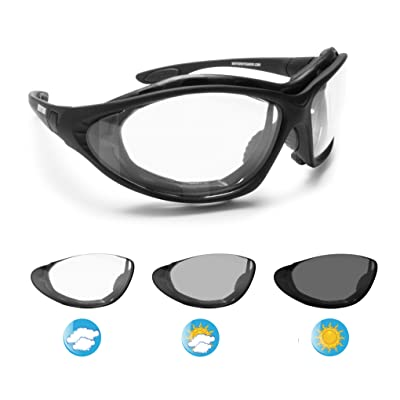 Bertoni Motorcycle Goggles Photochromic Antifog Lens - Interchangeable Arms and Elastic Strap - F333A Italy Motorbike Sunsensor Riding Padded Glasses: Sports & Outdoors