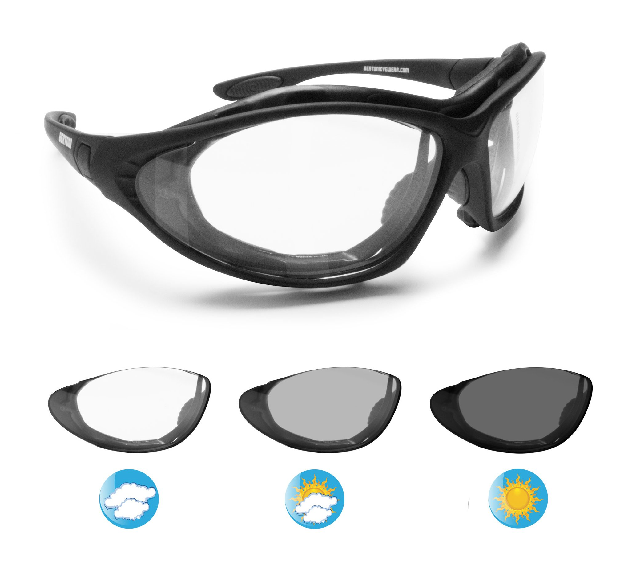 Bertoni Motorcycle Goggles Photochromic Antifog Lens - Interchangeable Arms and Elastic Strap by Italy F333A Motorbike Sunsensor Riding Padded Glasses