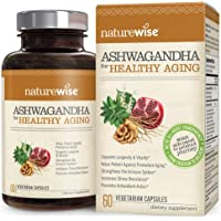 NatureWise Ashwagandha for Healthy Aging | KSM 66 Ashwagandha Organic Extract + Anti-Aging Superblend with Resveratrol, Astaxanthin, Reishi, Pomegranate (Watch Video in Images) [1 Month - 60 Count]