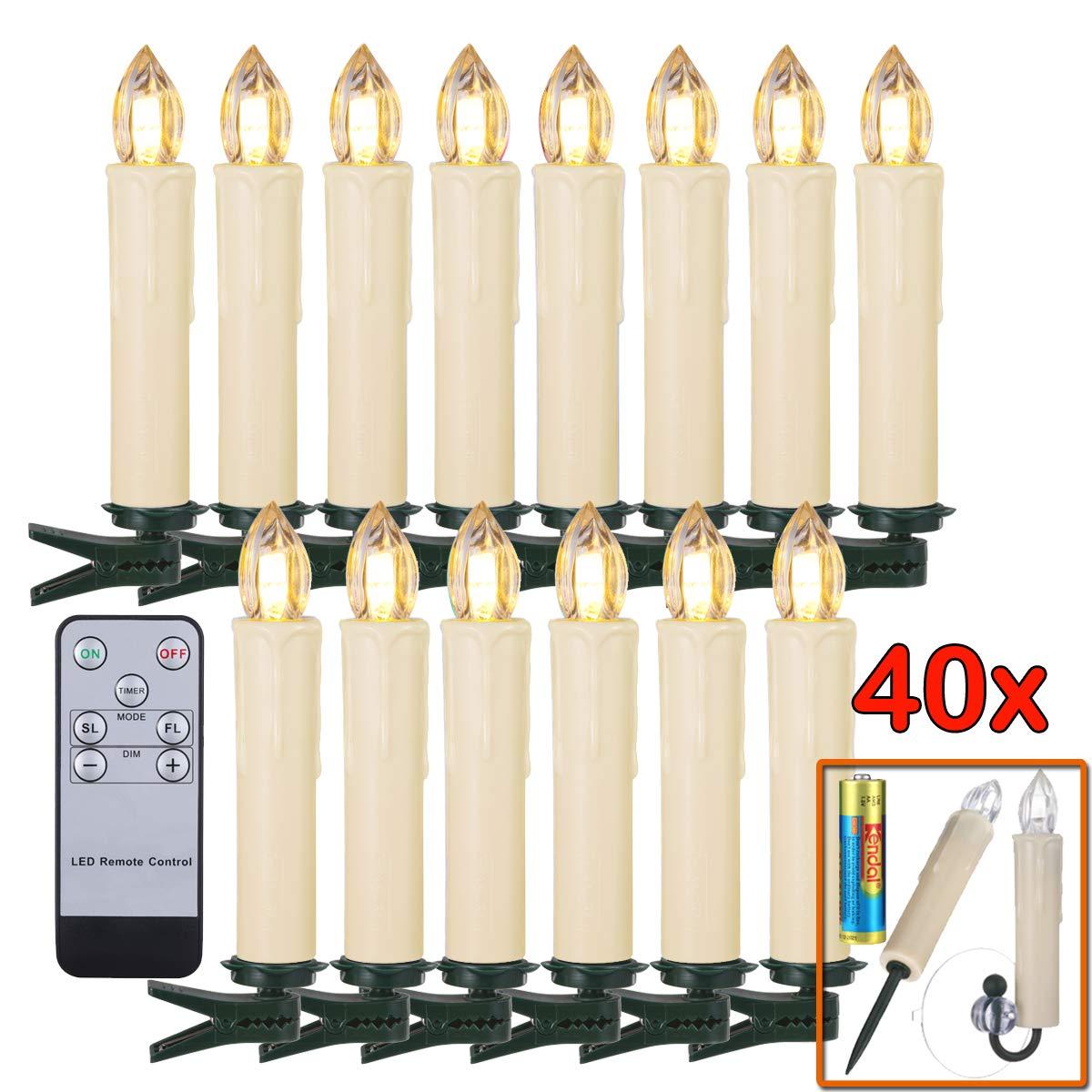 LED Kerzen [Batterien, Fernbedienung, Timer und Dimmbar] Kerzenlichter Flammenlose Weihnachtskerzen für Auß-Innen wasserdicht Weihnachtsbaum Weihnachtsdeko Hochzeit Geburtstags Party (beige, 40 Stück)