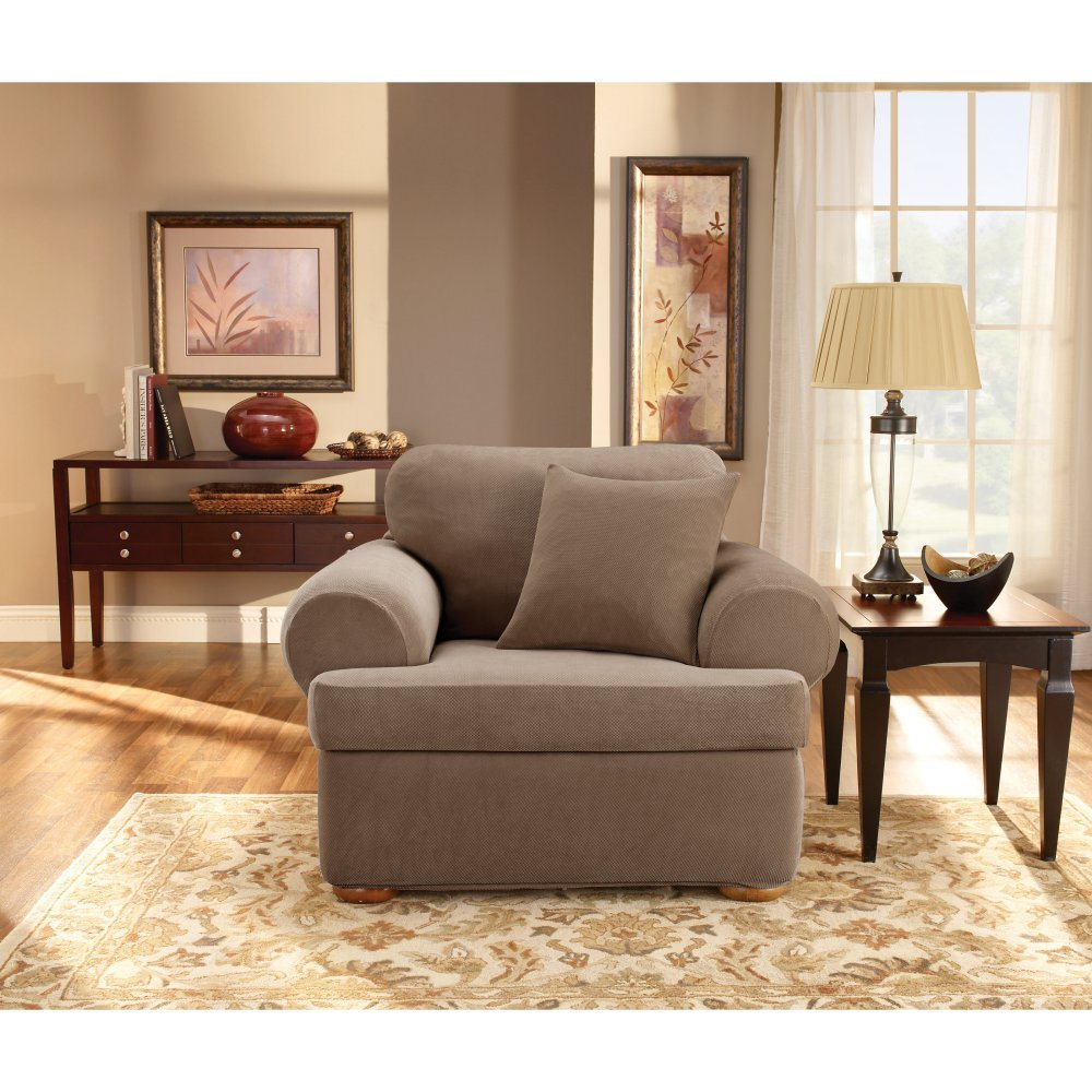 Sure Fit Stretch Pique T-Cushion Two Piece Chair Slipcover