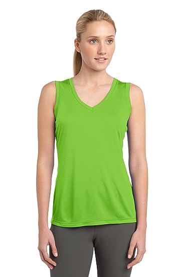 3053e0406545ca Sport-Tek Women s Sleeveless PosiCharge Competitor V Neck Tee-Large-Lime  Shock