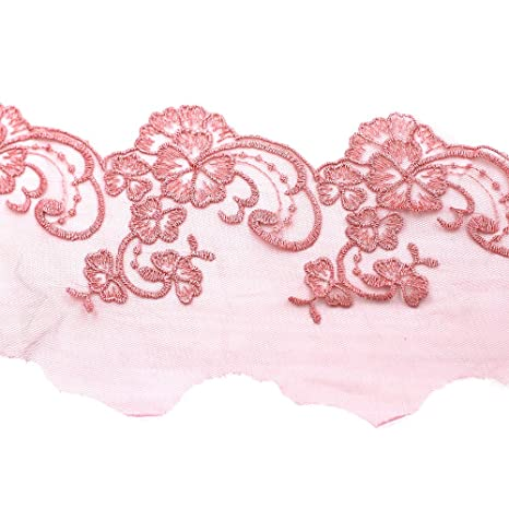 Amazon 15 Yard Embroidered Fabric Applique Scalloped Edge