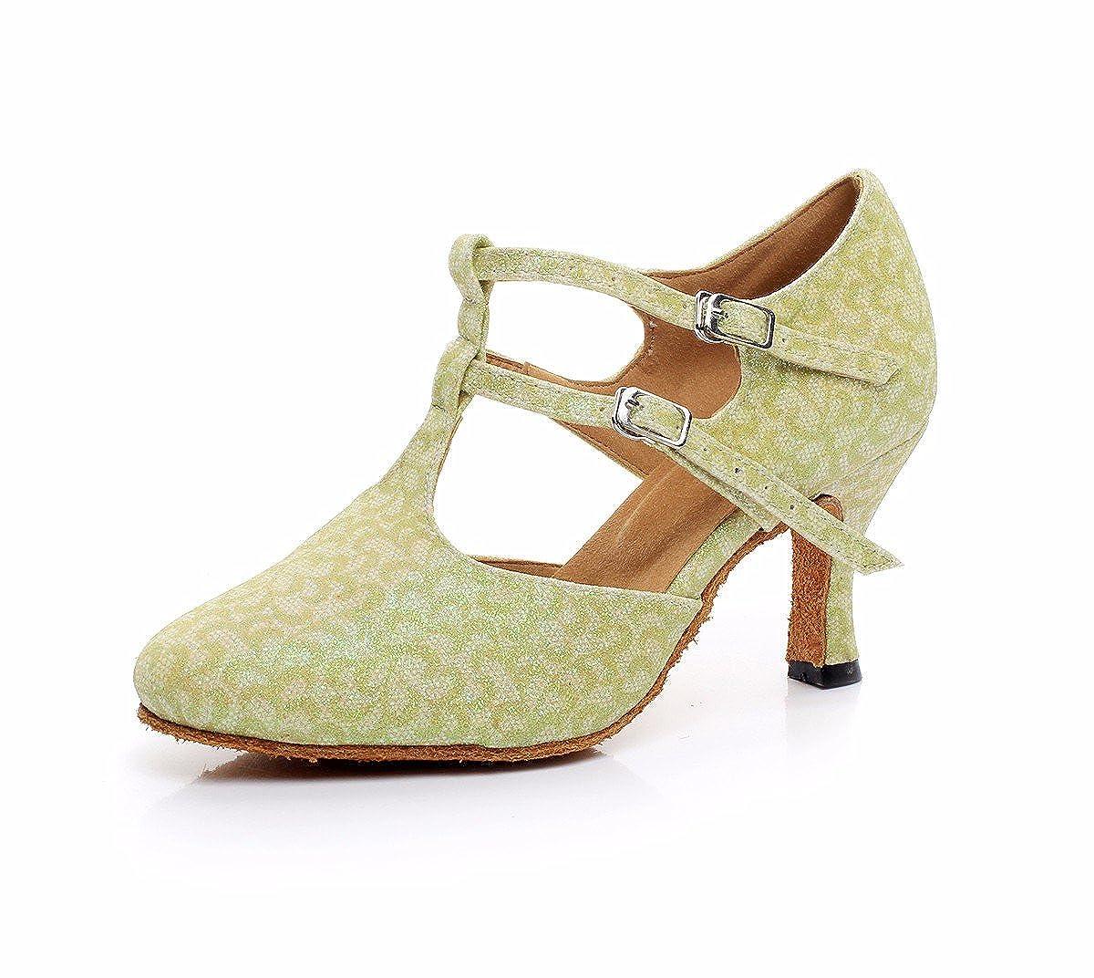 vert 42 EU JINGXINSTORELes chaussures de danse salsa latine sandales d'intérieur Flash-Material Professionnel