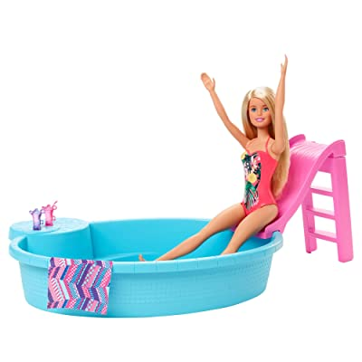 ​Barbie Doll, 11.5-Inch Blonde, and Pool Playset with Slide and Accessories, Gift for 3 to 7 Year Olds: Toys & Games