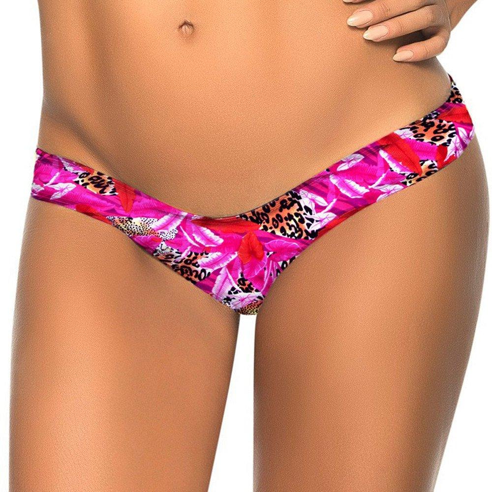 Swimsuit Bottoms for Women, One Piece Boho Floral Low Waist Swim Thong Womens Swimwear Trunk Bathing Suit Activewear Hot Pink