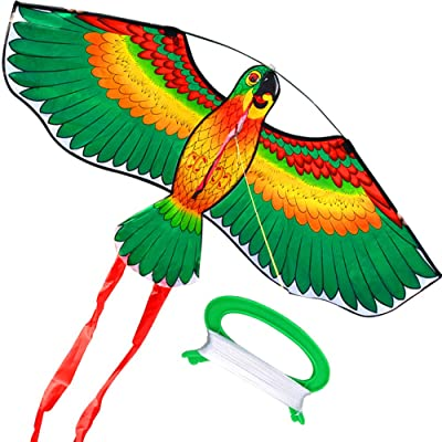 HENGDA KITE- Kites for Kids Children Lovely Cartoon Green Parrot Kites with Flying Line: Toys & Games