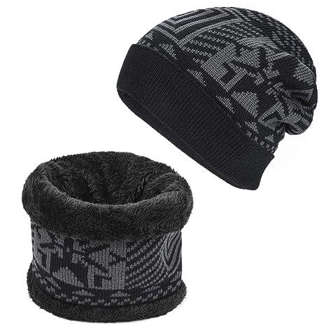 AYPOW Winter Beanie Scarf Set, Chapeaux de Bonnet Jacquard en Laine Polaire  tricotée Extensible et c7ca76c2bf3