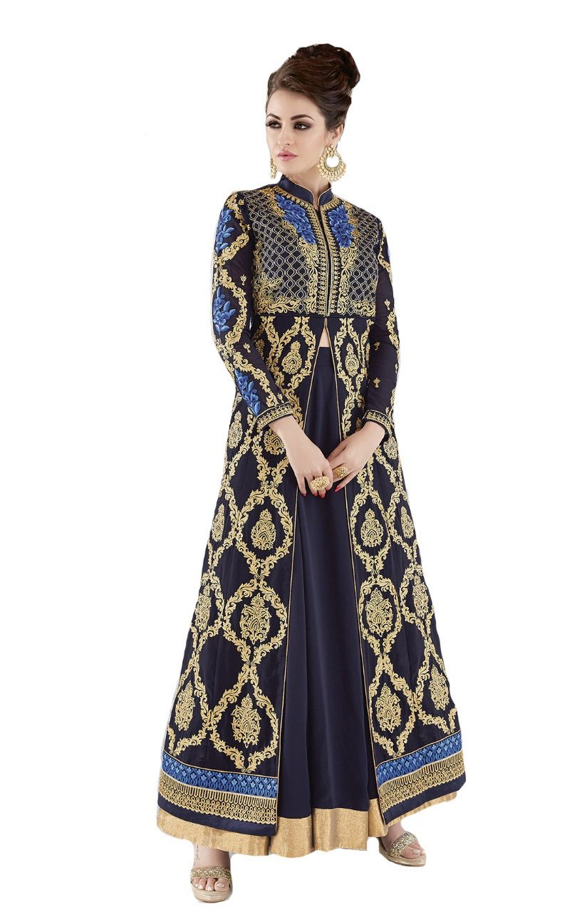 ziya Heavy Designer Indian Wear Long Anarkali Salwar Salwar Kameez Glossy (Navy Blue, M-40)