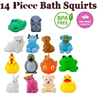 WISHKEY Baby Bath Toy Set of 14 Pcs Chu Chu Colorful Animal Shape Toy (Multicolor)